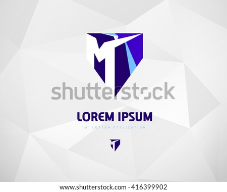 Abstract Vector Blue Logo 3D Design Template. Creative Color Concept Icon. Letter M Stylization  - stock vector