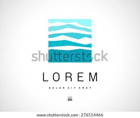 Abstract Vector Blue Logo Design Template. Creative Square Concept Icon. Mountain Symbol - stock vector