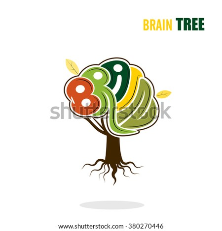 Abstract vector brain tree logo template.Think green concept.Business ,industrial and education concept.Vector illustration. - stock vector