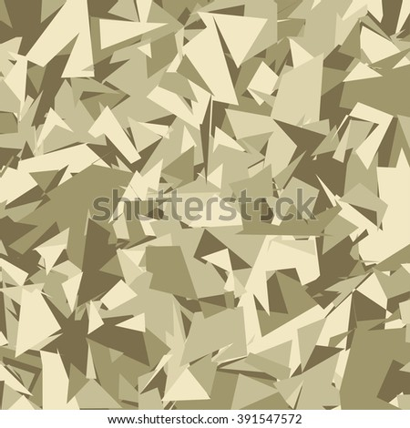 Abstract Vector Brown Military Camouflage Background Made of Geometric Triangles Shapes - stock vector