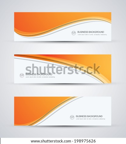 Abstract vector business background banner beautiful orange wave - stock vector