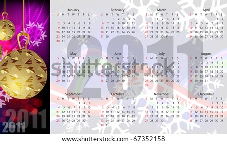 Abstract vector calendar 2011. Design for Christmas and new year
