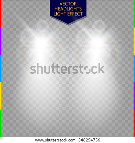 Abstract Vector Car Front Headlight White Light Effect Blur Glow With Lens Flare On