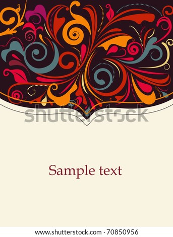 Abstract vector card with floral pattern - stock vector