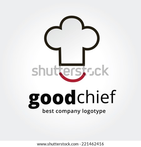 Abstract vector chief cup with smile logotype concept isolated on white background. Key ideas is business, caffe, cookng, food, restaurant, eating. Concept for corporate identity and branding - stock vector
