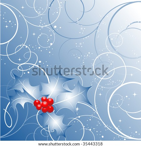 abstract vector Christmas background  in blue colors