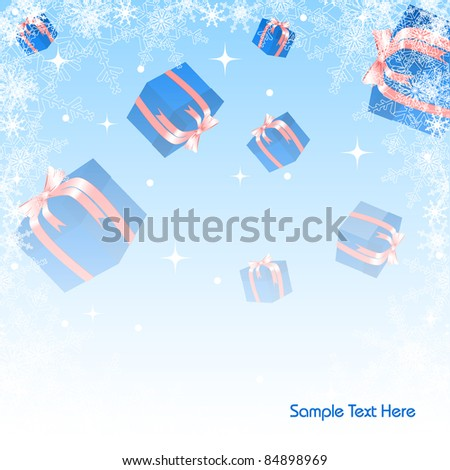 abstract vector Christmas background with gift boxes and snowflakes. Eps10