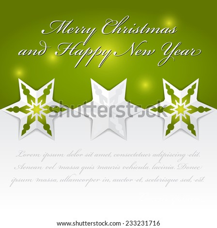 Abstract vector Christmas background with origami stars for an invitation, card, greetings or postcards. - stock vector