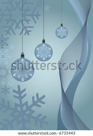 abstract vector christmas background with snowflakes and ornaments