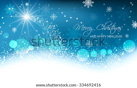 Abstract vector Christmas card, snow wave, glowing star and spherical elements. - stock vector