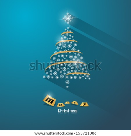 Abstract Vector Christmas Tree on Blue Background  - stock vector