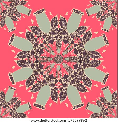 Abstract vector circle floral ornament. Lace pattern design. Vintage ornament on red background. Seamless pattern can be used for wallpapers, web page background, wrapping papers, surface textures.