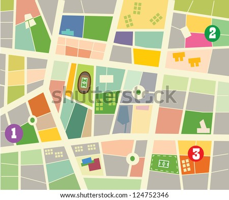 Abstract vector city map - stock vector