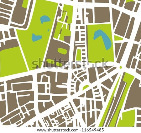 Abstract vector city map with white streets, dark brown buildings, green park and blue ponds. Simply draft town plan illustration