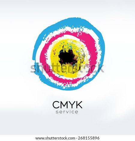 Abstract vector CMYK logo concept. CMYK target. Printing technology emblem. Polygraphic colors. - stock vector