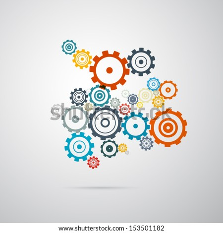 Abstract vector cogs - gears on grey background  - stock vector