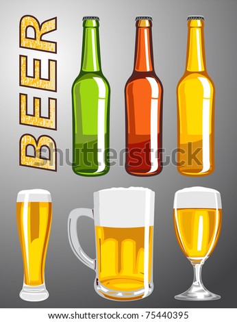 Abstract vector collection of beer - stock vector