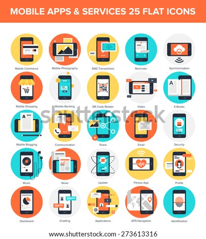 Abstract vector collection of colorful flat mobile applications and services icons. Design elements for mobile and web applications. - stock vector