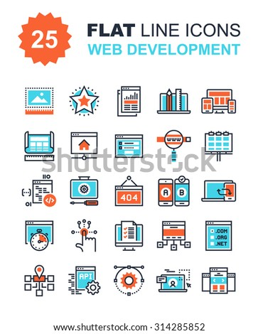Abstract vector collection of flat line web development icons. Elements for mobile and web applications. - stock vector