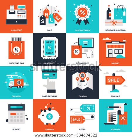 Abstract vector collection of flat shopping and commerce icons.