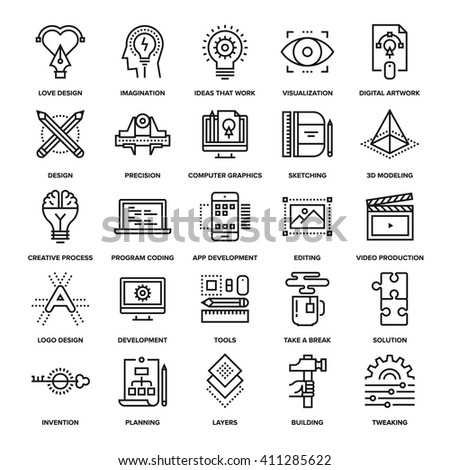Abstract vector collection of line creative process icons. Elements for mobile and web applications.