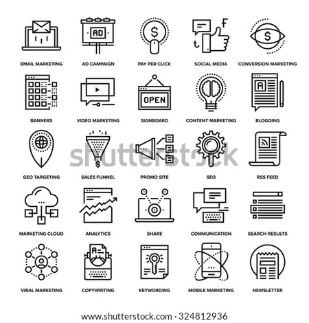 Abstract vector collection of line digital marketing icons. Elements for mobile and web applications. - stock vector