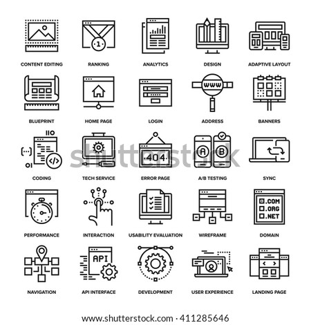 Abstract vector collection of line web development icons.  - stock vector