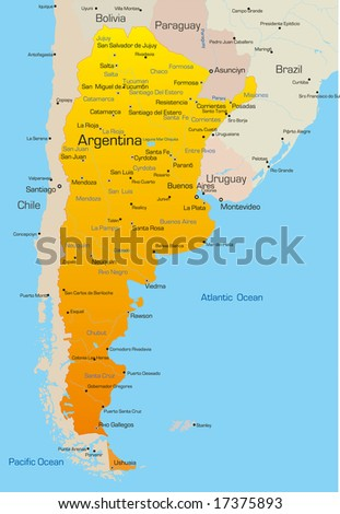 Abstract vector color map of Argentina country - stock vector