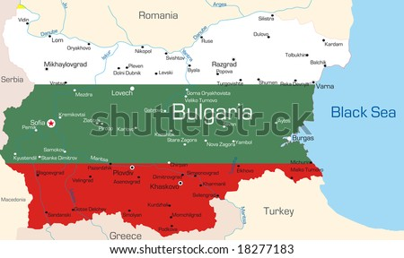 Abstract vector color map of Bulgaria country coloured by national flag - stock vector