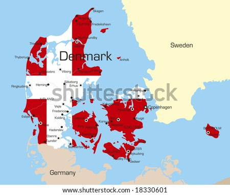 Abstract vector color map of Denmark country coloured by national flag - stock vector