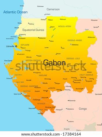 Abstract vector color map of Gabon country - stock vector