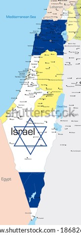 Abstract vector color map of Israel country colored by national flag - stock vector