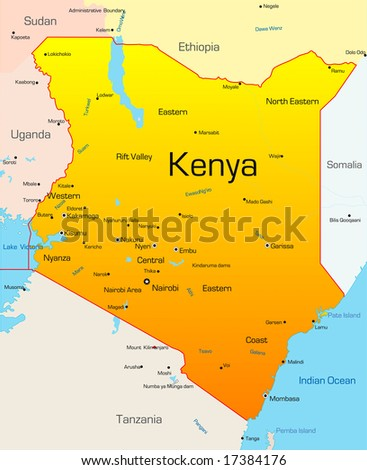 Abstract vector color map of Kenya country - stock vector