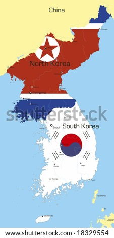 Abstract vector color map of Korea countries coloured by national flag