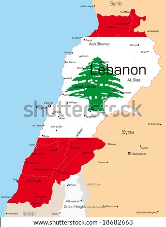Abstract vector color map of Lebanon country colored by national flag