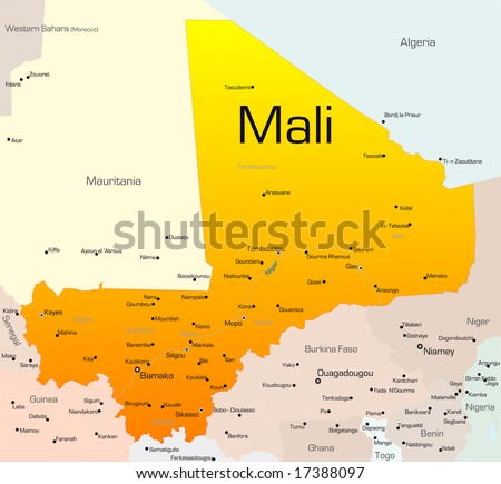 Abstract vector color map of Mali country - stock vector