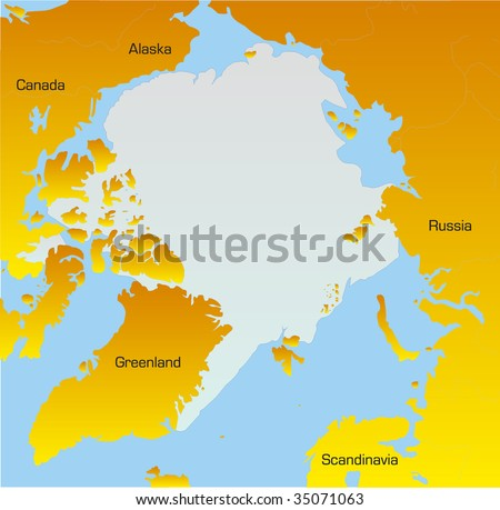Abstract Vector Color map of North pole - stock vector