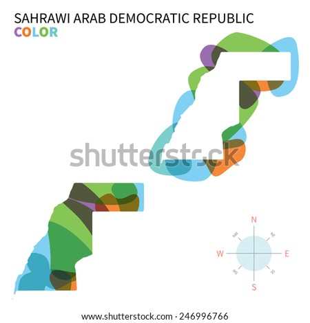 Abstract vector color map of Sahrawi Arab Democratic Republic with transparent paint effect. For colorful presentation isolated on white. - stock vector