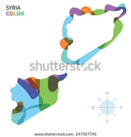Abstract vector color map of Syria with transparent paint effect. For colorful presentation isolated on white. - stock vector