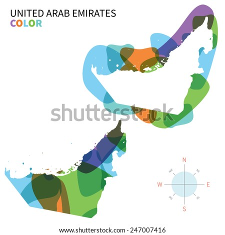 Abstract vector color map of United Arab Emirates with transparent paint effect. For colorful presentation isolated on white. - stock vector