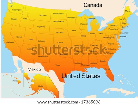 Abstract vector color map of USA country - stock vector