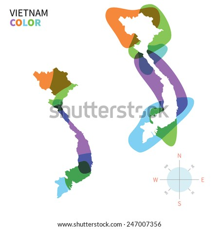 Abstract vector color map of Vietnam with transparent paint effect. For colorful presentation isolated on white. - stock vector