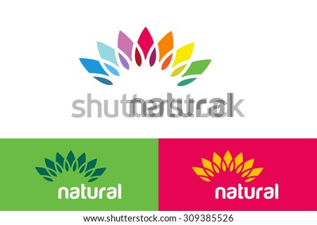 Abstract vector colored flower similar to sun logotype. Spa, beauty, nature design, nature care, health and healthy products. Abstract flower. Flower icon. Flower logo. Colored nature logo. Star logo - stock vector