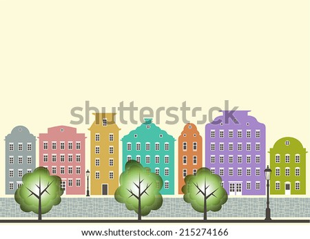 Abstract vector colorful city with green trees, street lights on a bright yellow background - stock vector
