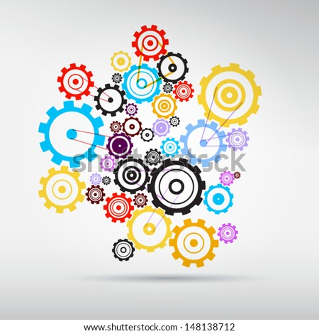 Abstract vector colorful cogs - gears on grey background  - stock vector