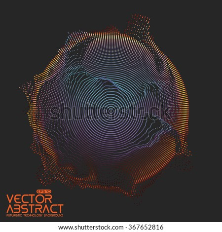 Abstract vector colorful mesh on dark background. Futuristic style card. Elegant background for business presentations.  Corrupted point sphere.  Chaos aesthetics. - stock vector