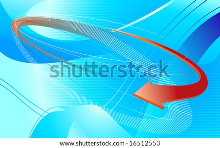 abstract vector composition, blue technology background with arrow - stock vector