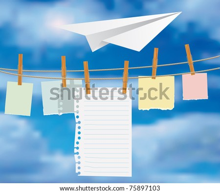 abstract vector composition with paper plane over notice boards over rope - stock vector