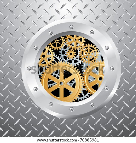 abstract vector composition with silver and golden gears - stock vector