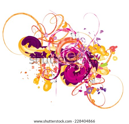 Abstract vector composition with spirals - stock vector